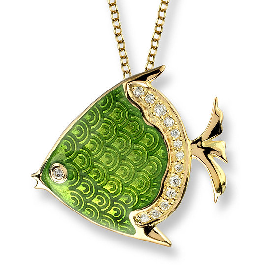 18 Carat Gold Angel Fish Pendant, Diamonds