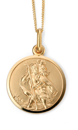 St Christopher Pendant, 9ct Gold, Engravable