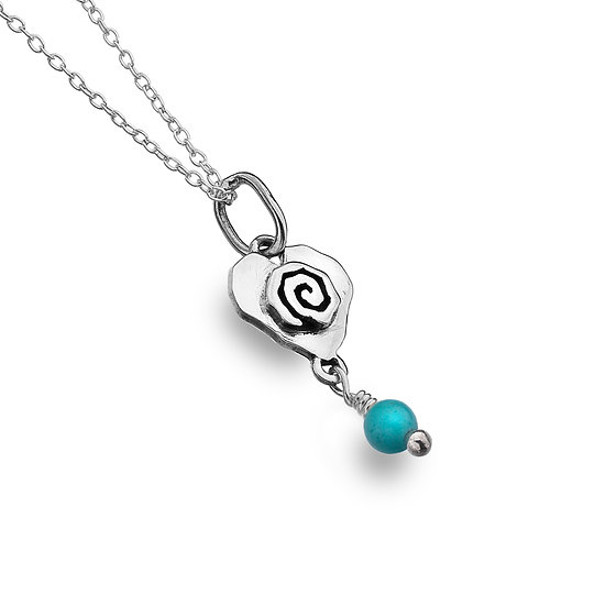 Celtic Spiral heart Pendant with gemstone dropper