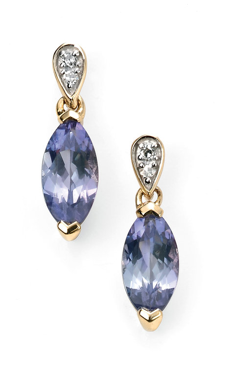 Diamond and Tanzanite Marquise Earrings