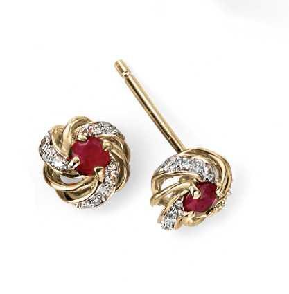 Diamond and Ruby Twist Stud Earrings
