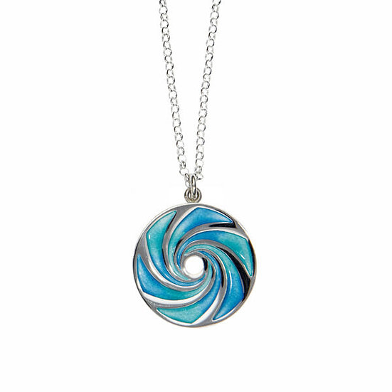 St Justin Glas Mor Maelstrom enamelled pendant, small or large