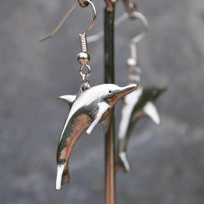 Dolphin Earrings, pewter