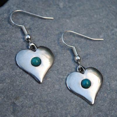 Gemstone Heart Earrings, pewter