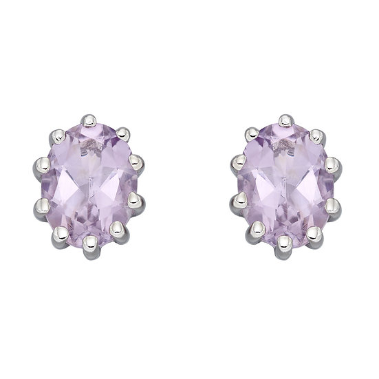 Pink Amethyst Stud Earrings