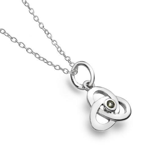 Small Trinity Knot Pendant with Gemstone