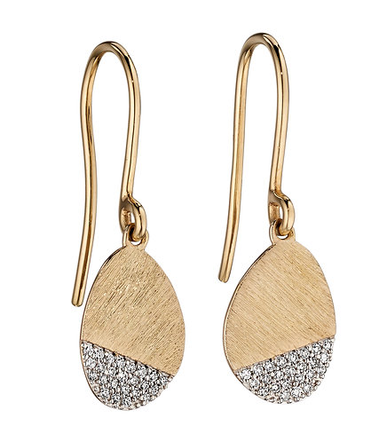 Shore Drop Earrings with pave Diamonds