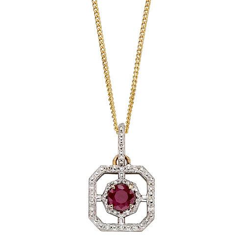 Art Deco Diamond Pendant with Emerald or Ruby