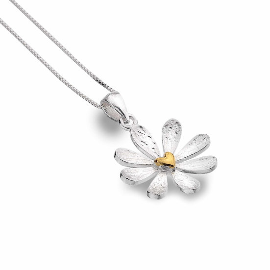 Silver Daisy Pendant with Heart