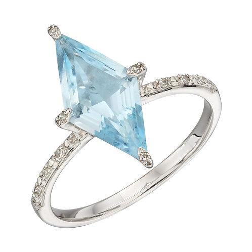 Kite Shaped Blue Topaz Ring in White Gold