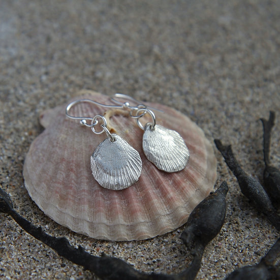 Scallop Shell Earrings, Natural Silver