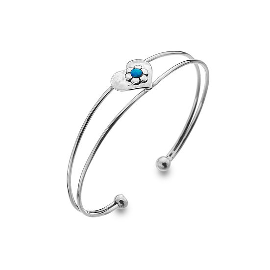 Heart Bangle with Flower