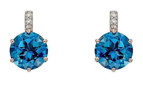 London Blue Topaz Earrings, Rose Gold