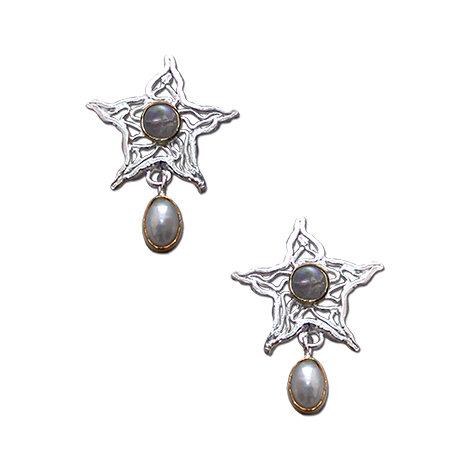 Sea Stars Stud Earrings with Pearl dropper