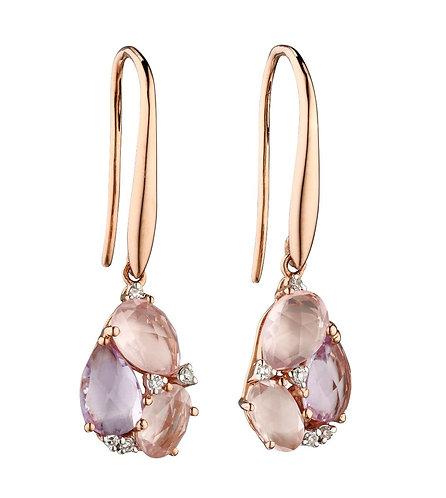 Rose de France and Rose Quartz Cluster Earrings