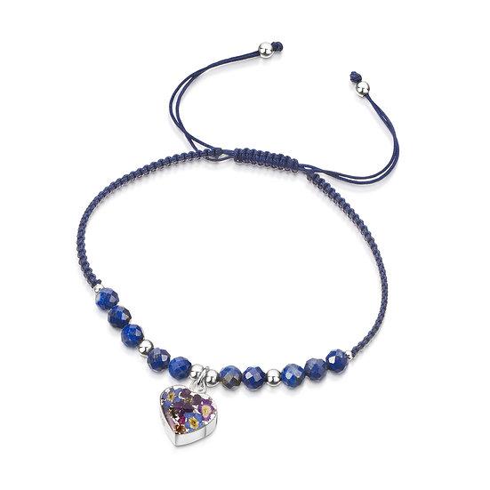 Real Flower Gemstone bracelet, Purple Haze