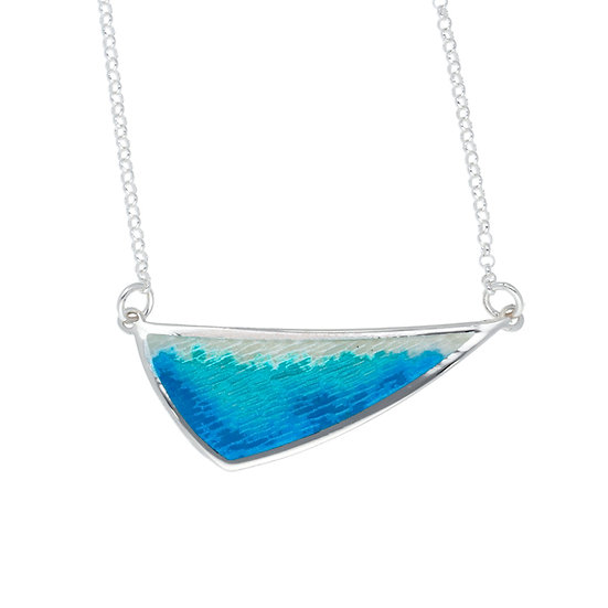 Silver Glas Mor Sloop enamelled necklace