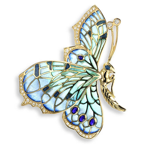 18 Carat Gold Alighting Blue Butterfly Brooch, Diamonds and Blue Sapphires