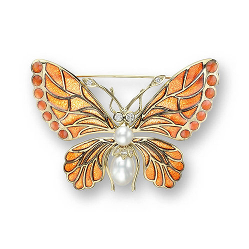 18 Carat Gold Orange Butterfly Brooch with Diamond and Pearl