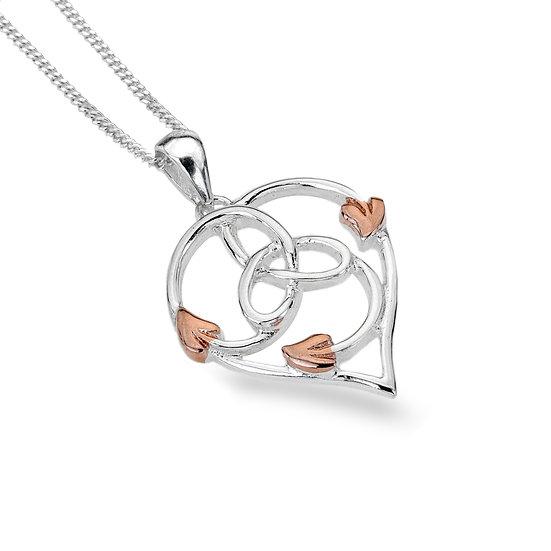 Celtic Trinity Heart & Leaves Pendant, Rose Gold plated