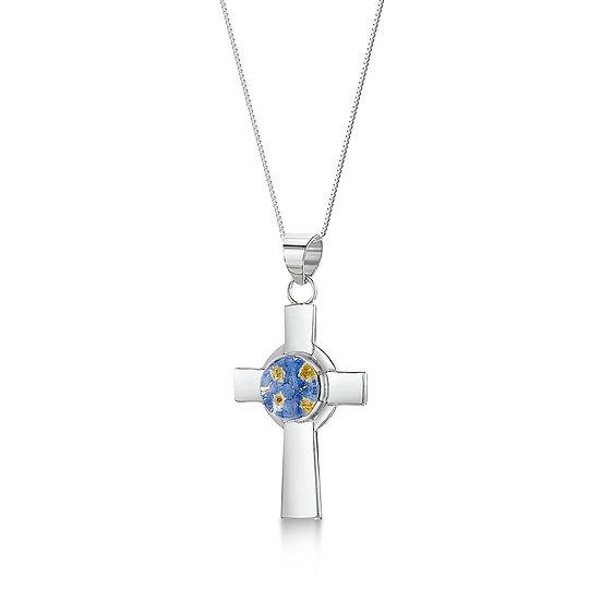 Real Flower Necklace, Celtic Cross