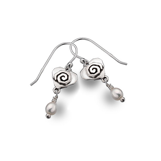 Celtic Spiral heart earrings with pearl dropper