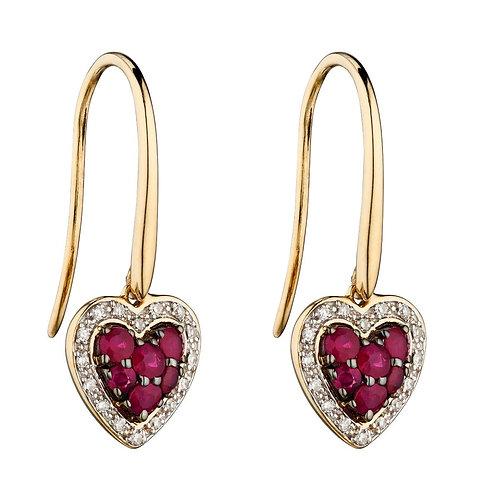 Ruby and Diamond Heart Earrings