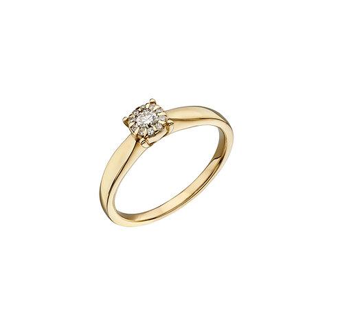 Diamond Cluster Ring, 9ct Yellow Gold