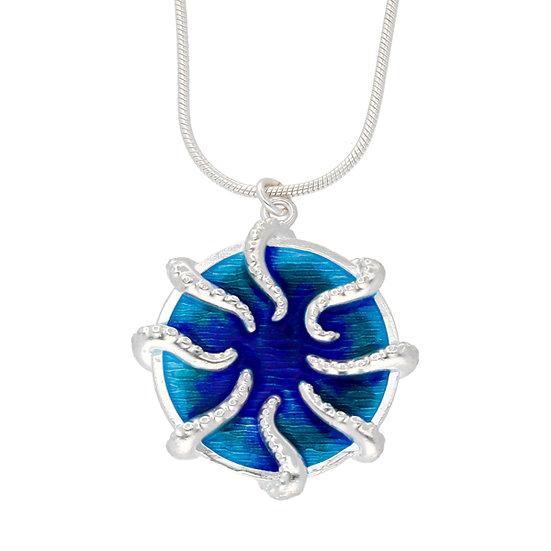 St Justin Glas Mor Kollel Lesa Octopus enamelled pendant