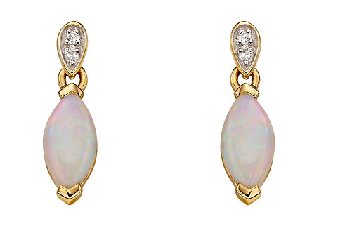 Yellow Gold Stud Earrings with Opal and Diamond