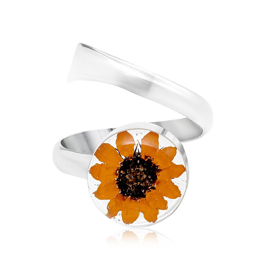 Adjustable Silver Ring with Real Flowers
