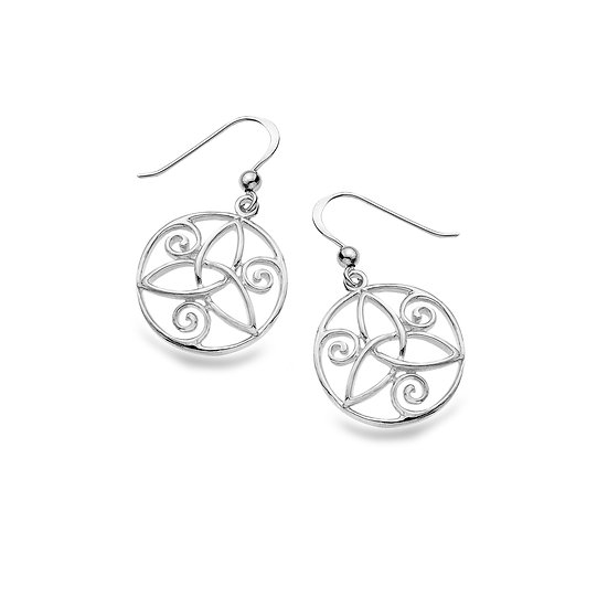 Round earrings with Celtic Trinity and Spirals