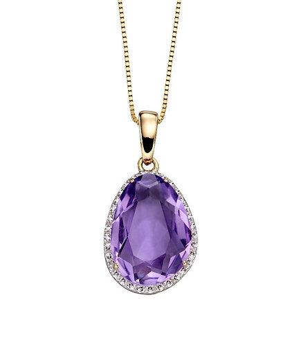 Organic Shaped Amethyst Pendant with Diamond