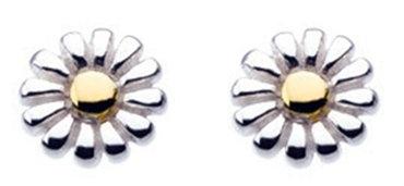 Daisy Stud Earrings, Gold plate detail