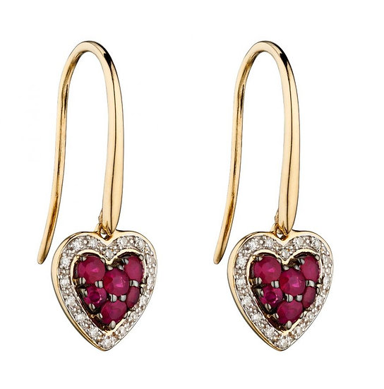 Ruby and Diamond Heart Earrings, 9ct Gold
