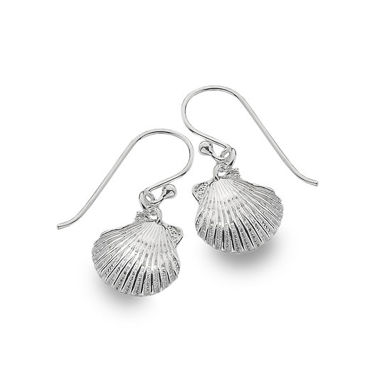 Silver Scallop Shell Earrings, Studs or Drops