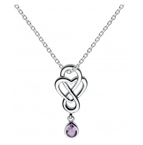Celtic Looped Heart Pendant with Amethyst