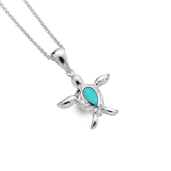 Sea Turtle Pendant, Turquoise or Paua Shell