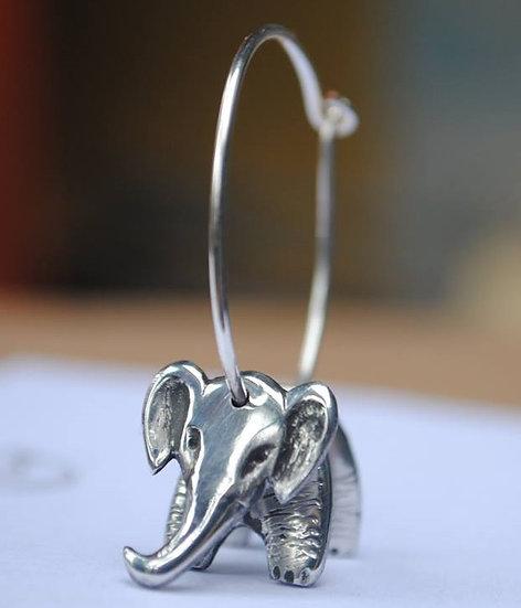 Elephant Earrings, pewter