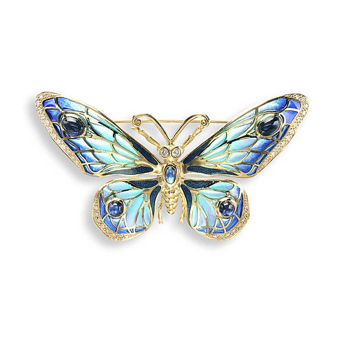 18 Carat Gold Blue Butterfly Brooch, Diamonds and Blue Sapphires