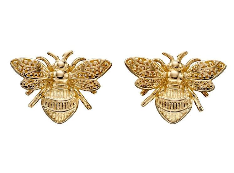 Bee Stud Earrings, 9ct Gold