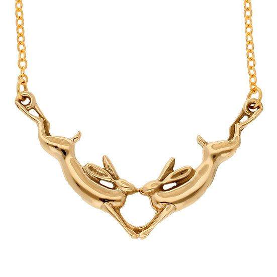 Bronze kissing hares necklace