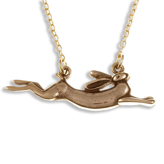 Leaping hare necklace bronze
