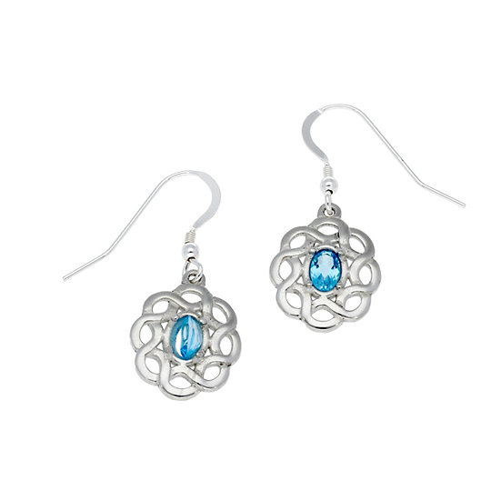 Topaz Celtic Knot earrings, Cornish Tin