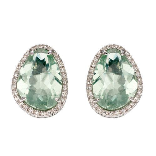 Green Fluorite and Diamond Earrings in White Gold