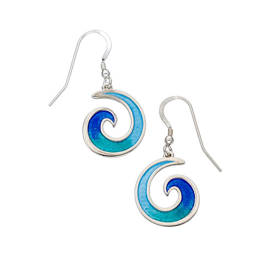 St Justin Glas Mor Mordardha enamelled drop earrings