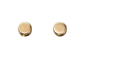 Yellow Gold Plain Disc Stud Earrings