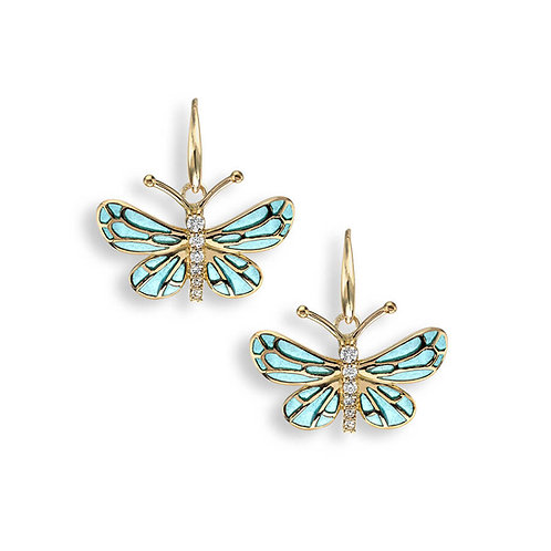 18 Carat Gold Butterfly Earrings with diamonds, Orange or Turquoise