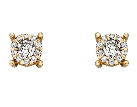 Tiny Diamond Cluster Stud Earrings