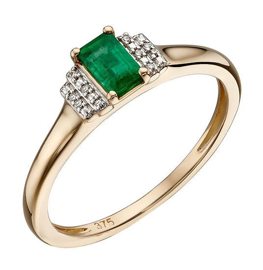 Emerald and Diamond Deco Ring, 9ct Gold